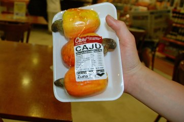 Funny how they sell cashews here as the entire fruit.