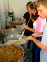 Matt helping out with lunch for kids in Mitchell's Plain.