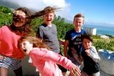 More wind! Matt & Sam with Abbey, Bella and Zac.