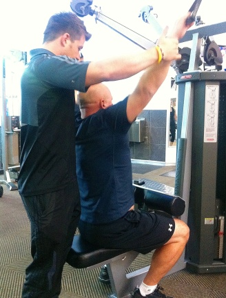 Dave hard at work at Virgin Active with his trainer Chris.