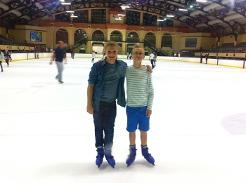 A quick skate at the end of the night at the arena while waiting for Mom & Josh.