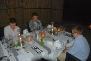 Josh's birthday supper out in the boma (this beautiful table was outside in the African BBQ pit).