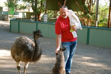 Okay, this emu was crazy! He wanted all of our food and kept chasing us around.... I'm not a big fan of the emu!