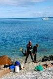 Matt & Sam getting ready for their dive in Blue Pearl Bay.
